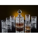 Whiskey decanter set with 6 glasses. Bohemia Crystal.