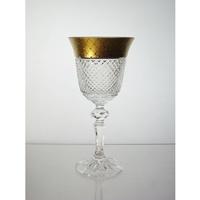 Coffret de 6 verres à vin blanc. Le Cristal et l'Or.