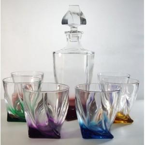 La maison du cristal rainbow decanter set with 6 glasses - La maison du cristal ...