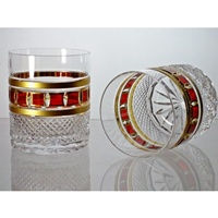 Coffret de 2 verres à whisky. Collection l'Or Rouge.