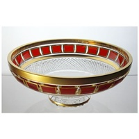 Crystal bowl 25cm. Red Gold.