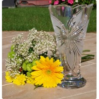 Crystal vase 25cm. Orchid decoration.