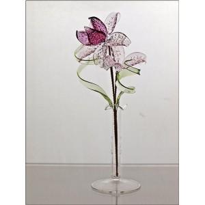 La maison du cristal fleur en verre violet - Maison du verre et du cristal ...