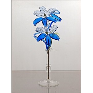 La maison du cristal fleur en verre bleu - Maison du verre et du cristal ...