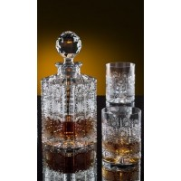 Whiskey decanter set with 2 glasses. Bohemia Crystal.