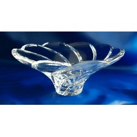 Crystal fruit bowl 20cm. Whirlpool decoration.