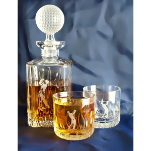 whiskey decanter set and 2 glasses with golf motif. Black Bedroom Furniture Sets. Home Design Ideas