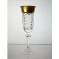 Coffret de 6 verres à Champagne. Le Cristal et l'Or.
