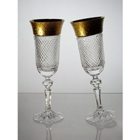Box of 2 Champagne flutes. Crystal and Gold.