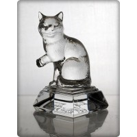 Cat figurine in crystal. Size : 10cm.
