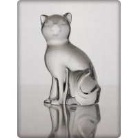 Cat figurine in crystal. Size : 7cm.