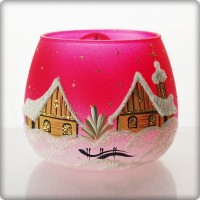 Christmas candle holder - red