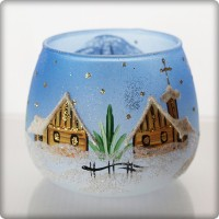Christmas candle holder - blue