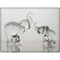 Elephant family in crystal. Size : 8cm and 5cm.