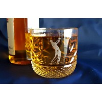 Whisky glasses with a golf motif. Box of two.