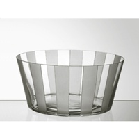 Coupe en verre 23cm. Collection Rayure Grise.